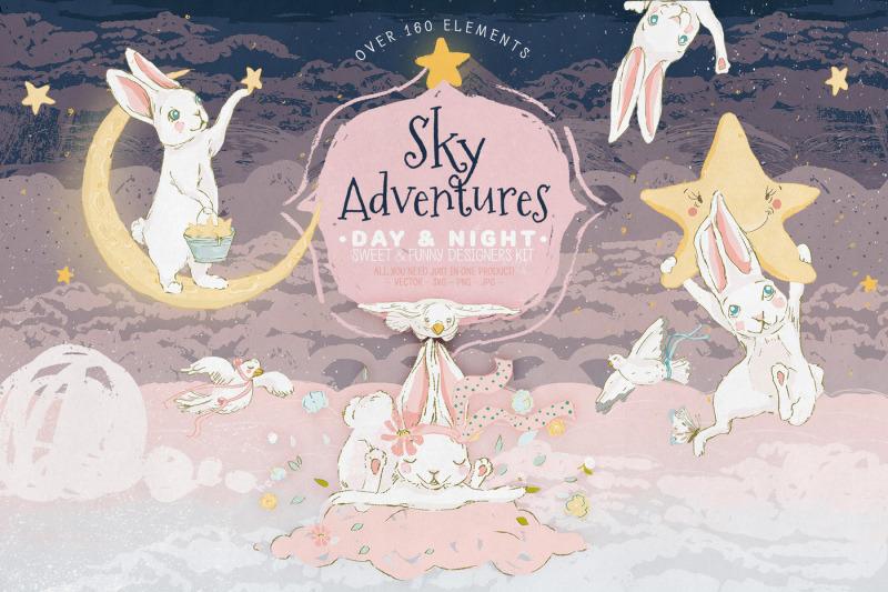 FREE Sky Adventures Illustration By TheHungryJPEG