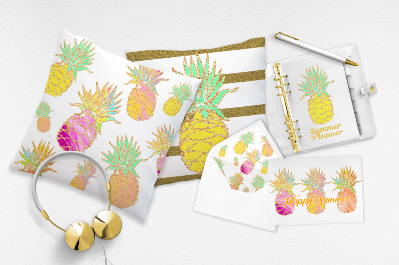 FREE Fun Summer Pineapple Pack By TheHungryJPEG ...